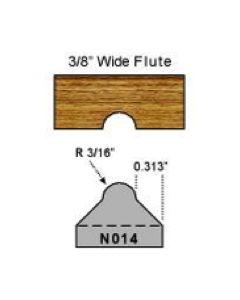 3/16 radius flute cut profile