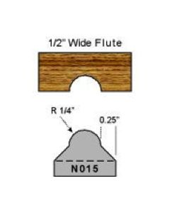 N015 1/4 radius flute cut
