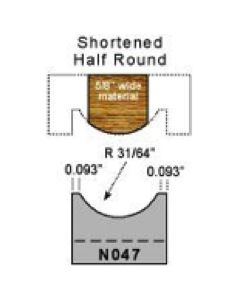 31/64 Shortened half round profile