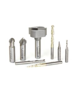 Amana AMS-133 8-Pc Signmaking Starter Router Bit Collection #III, 1/4 & 1/2 Inch Shank