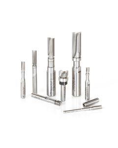 Amana AMS-600 8-Pc Flush Trim Plunge Template with Upper Ball Bearing Guide Router Bit Collection, 1/8, 1/4 & 1/2 Inch Shank