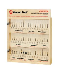 """Amana AMS-CNC-52 - Master CNC Router Bit Collection, 52-Pcs 1/4"""" Shank"""